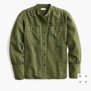 J Crew Point Sur Draped Button Down Shirt in Twill